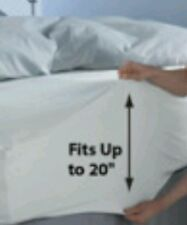 """Extra deep pocket Fits 20"""" QUEEN size Fitted White Sheet 100% Cotton ELASTIC"""