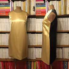 BALENCIAGA dress UK 8-10 / US 4-6 100% silk satin two tone gold grey shift VTG