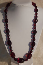 """BAKELITE CHERRY AMBER GRADUATED FACETED BEAD NECKLACE 50 grams   22"""" long"""