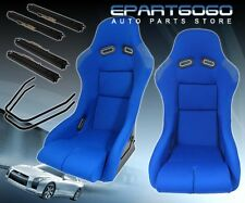 2X FULL TRACK/DRAG/RACE JDM STYLE BLUE BUCKET AUTOMOTIVE SEATS WITH SLIDER RAILS