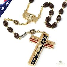 19182E Ghirelli USA America States ROSARY Blessed Mother on US Gold Color