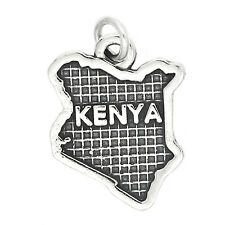 Sterling Silver Map of Kenya Charm