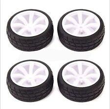 4pcs RC 1:10 Sport Class Racing Tires Tyre +Wheel Rim White Wheel Hub