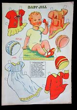 "Uncut British Paper Doll Sheet 10"" Baby Jill w Dresses, Nightgown and Coat"