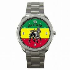 Rasta Jamaica Lion Jamaican Flag Reggae Colors Stainless Steel Sport Watch New!