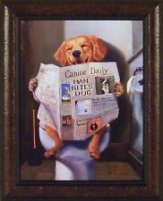 DOG GONE FUNNY by Lucia Heffernan 18x22 FRAMED PRINT Pup on Toilet Reading Paper