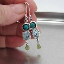 Hadar Designers 925 Sterling Silver Roman Glass Turquoise Peridot Earrings (as