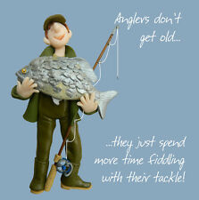 ANGLING FISHING TACKLE Male Birthday Card, Mens Greeting, Anglers don't get old