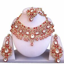 RED GOLD INDIAN COSTUME JEWELLERY NECKLACE EARRINGS MATHA PATTI SET BRIDAL NEW