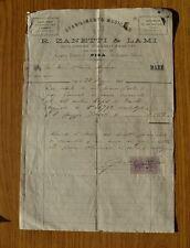ANTICA RICEVUTA ACQUISTO PIANOFORTE ZANETTI & LAMI PISA 23 MAGGIO 1894