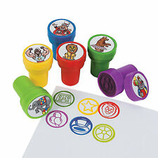 6 Kids CARNIVAL Theme STAMPS Ink Stampers Crafts Party Favors CLOWNS BALLOONS
