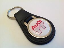 AUDI TT Quality Black Real Leather Keyring