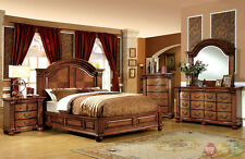 Bellagrand Luxurious Antique Tobacco Oak Queen Panel Bed 4 Piece Bedroom Set