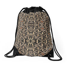 EXCLUSIVE AFRICAN KUBA CLOTH DESIGN #2 DRAWSTRING BAG ~ Striking Pattern