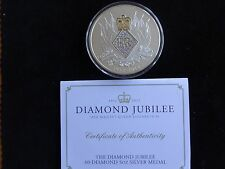 2012 5OZ FINE SILVER PROOF BRITANNIA 60-DIAMOND MEDAL BOX + COA QUEENS DIAMOND
