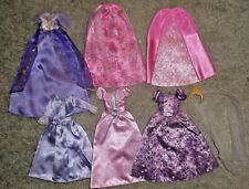 BARBIE DOLL CLOTHES - 4 ASSORTED PRINCESS GOWNS, 2 FORMAL SKIRTS & VEIL w/ CROWN
