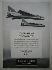 10/1956 PUB ENGLISH ELECTRIC AIRCRAFT P.1 SUPERSONIC FIGHTER RAF ORIGINAL AD