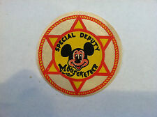 VINTAGE WALT DISNEY THE MICKEY MOUSE CLUB SPECIAL DEPUTY MOUSEKETEER PATCH