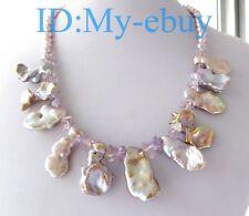 "Lavender Oval & Purple Large Petal Keishi Keshi Pearl & Amethyst Necklace 19"""