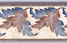 Victorian Blue Burgundy Gold Acanthus Leaf Scroll Marble Beige Wall paper Border