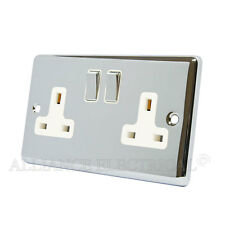Polished Chrome Classical 2 Gang Socket 13 Amp Double Wall Plug Socket Outlet