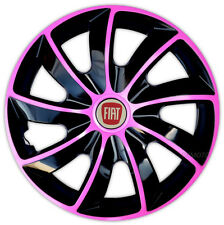 "4 x15"" Wheel trims Wheel covers for Fiat 500  Fiat Punto   black / pink"