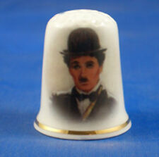 Birchcroft China Thimble -- Film Stars -- Charlie Chaplin --  Free Dome Gift Box
