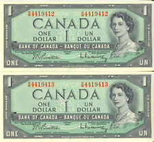 Bank of Canada 1954 $1 One Dollar Lot of 2 Consecutive Notes Choice UNC S/M