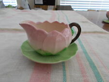 CARLTONWARE GRAVY BOAT WITH SAUCER , PINK & GREEN