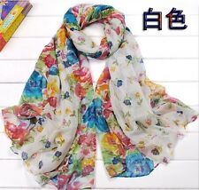 White Women's Long Fashion Soft Cotton blend Shawl Flower Wraps Scarf Scarves
