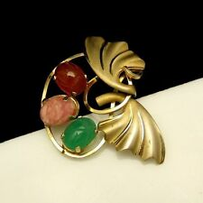 CURTIS DCE Vintage Brooch Pin Gold Filled Egyptian Glass Scarabs Circle Leaves