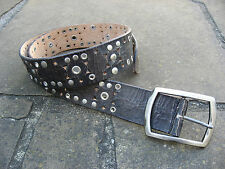 New Wide Brown Stressed Leather Belt womens metal detail, silver buckle – Size M