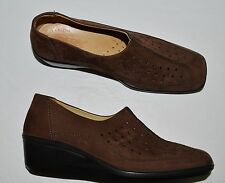 ESSE COMFORT SZ 7 M 38 BROWN CUT OUT NUBUCK LEATHER WEDGE HEEL SHOES
