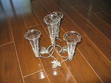 4 Horn Epergne Glass Etched Grapes With Silver Plate Wire Holder