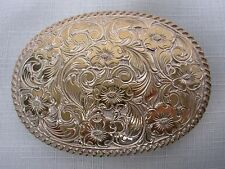 1980s CRUMRINE COWBOY RODEO BELT BUCKLE with FANCY ENGRAVED SCROLL FLOWER 3 3/4""
