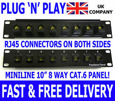 "10"" Cat.6 Plug 'n' Play RJ45 Keystone Patch Panel Miniline Ethernet Network Data"