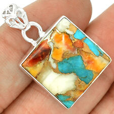 Spiny Oyster & Arizona Turquoise 925 Sterling Silver Pandent PP881