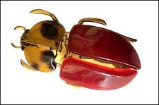 EXQUISITE RESIN AND GOLD METAL 3 ins SCARAB BEETLE BUG INSECT PIN BROOCH