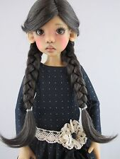 Monique ANNA Wig Nearly Black color Size 8-9 SD BJD shown on Hope by Kaye Wiggs