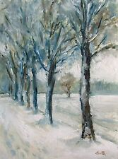 Oil Painting, ' Snow Parade' Original impressionist landscape 8x6 inch picture.