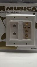 MUSICA MTX RG6 RCA CAT-5 WHITE WALL PLATE VIDEO AUDIO INTERNET COAXIAL SATELLITE