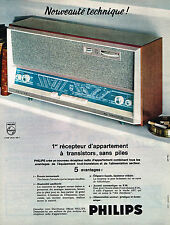 PUBLICITE ADVERTISING 114  1963  PHILIPS  radio récépteur d'appartement sans pil
