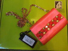 Bnwt Ted Baker Small Satin Bright Pink Clutch Or Shoulder Diamanté Evening Bag