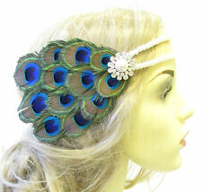 Peacock Pearl Feather Headpiece 1920s Headband Flapper Great Gatsby Ivory 1573