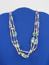 Robert Lee Morris SOHO Gray Faux Pearl Oval Abalone Beaded Triple Stand Necklace