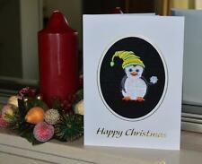 A new machine embroidered hand finished Xmas card -Xmas Penguin With Snowball