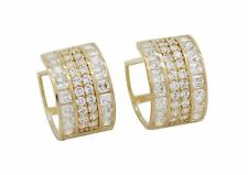 10K Solid Yellow Gold Cubic Zirconia Huggie Hoop Earrings