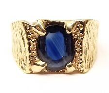 Vtg 14K Gold Blue Sapphire Ring Sz 10.75 Mens Textured Cigar Signet Band Estate