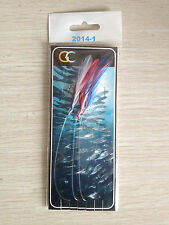 5 Packs Mackerel Feathers Bass Cod Lures Sea Fishing Rigs 2014-1 Dyed Feather