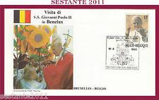 W146 VATICANO FDC ROMA VISITA PAPA GIOVANNI PAOLO II BENELUX BRUXELLES 1985
